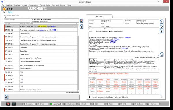 E.D.I. Software per la documentazione tecnica: Ambiente Argomenti