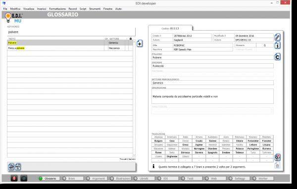 E.D.I. Software per la documentazione tecnica: Ambiente Glossario